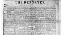 The front page with date and masthead of The Reporter, March 12, 1808