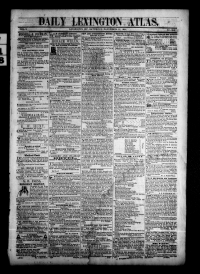 Front page of the Daily Lexington Atlas, includes columns and masthead
