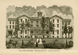 Woodcut from the Annual Catalogue of the Officers and Students of Hamilton Female College