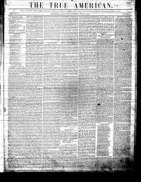 Front page of The True American newspaper, masthead and columns